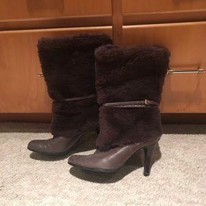 Ralph Lauren winter fur heeled boots